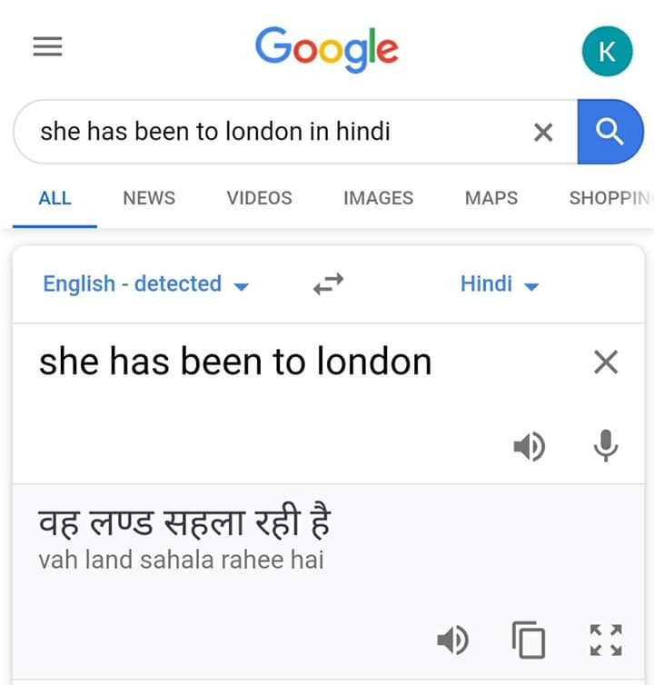 She has been to london Google Translate